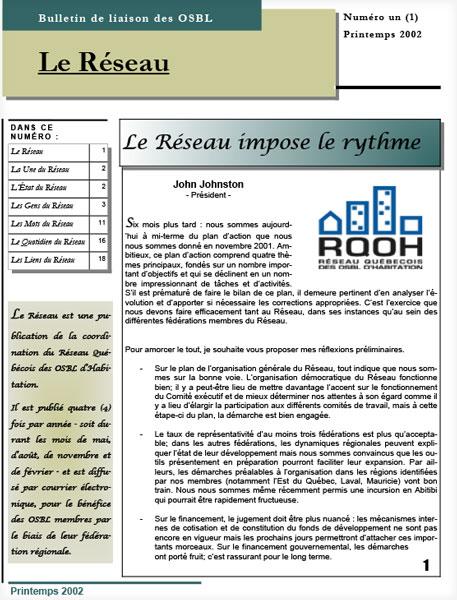 Bulletin Le Réseau – no. 1